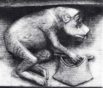 Macaco ladrão- cadeiral da igreja de Montémart (séc.XV)