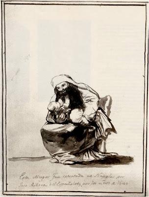Goya,  Esta muger fue retratada en Napoles por José Ribera o el Españoleto, por los años de 164, Album E, p.22, c.1814-17.
