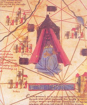 Prestes João Negro, detalhe do Mapa-Mundo Catalão (Modena, 1450-60, Biblioteca Estense,inv. C.G.A.I.)