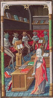 Caridade rodeada de diabinhos- Augustine, La Cité de Dieu, Paris, Maître François (illuminator); c. 1475-1480
