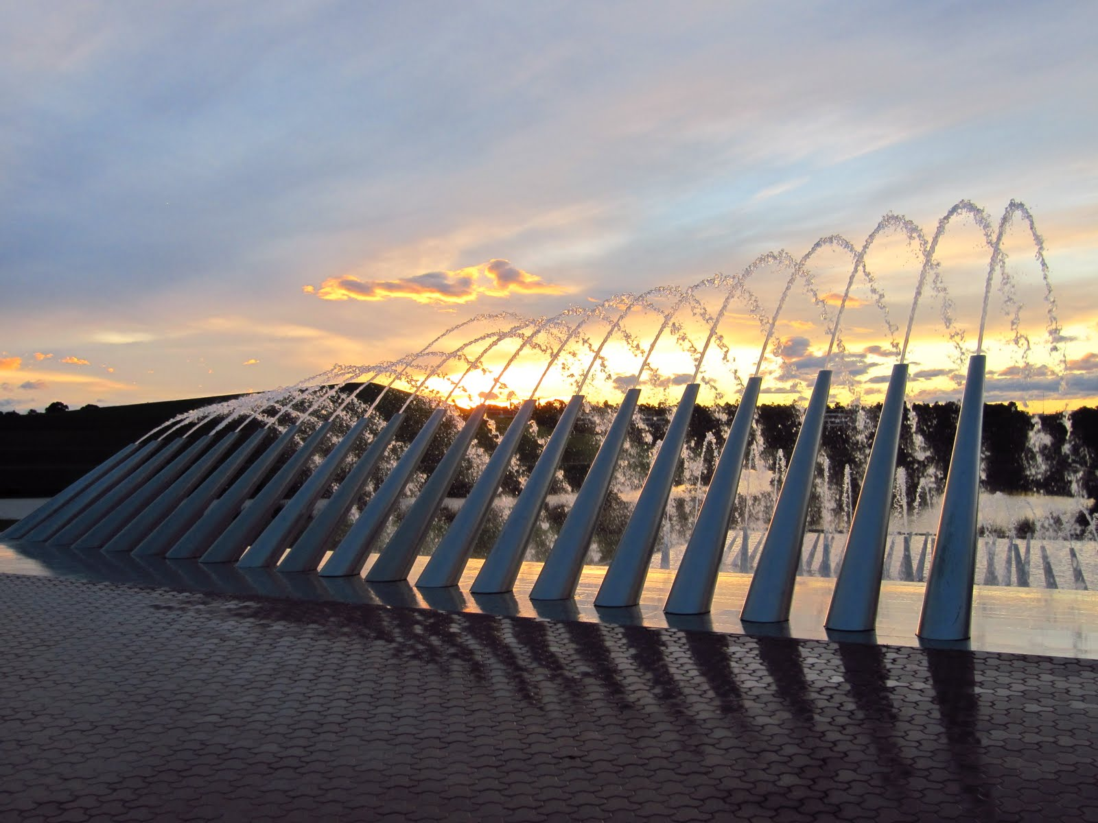 A Sunset View Of The Northern Water Feature Located At Sydney Olympic Park In Western Suburb Homebush Bay