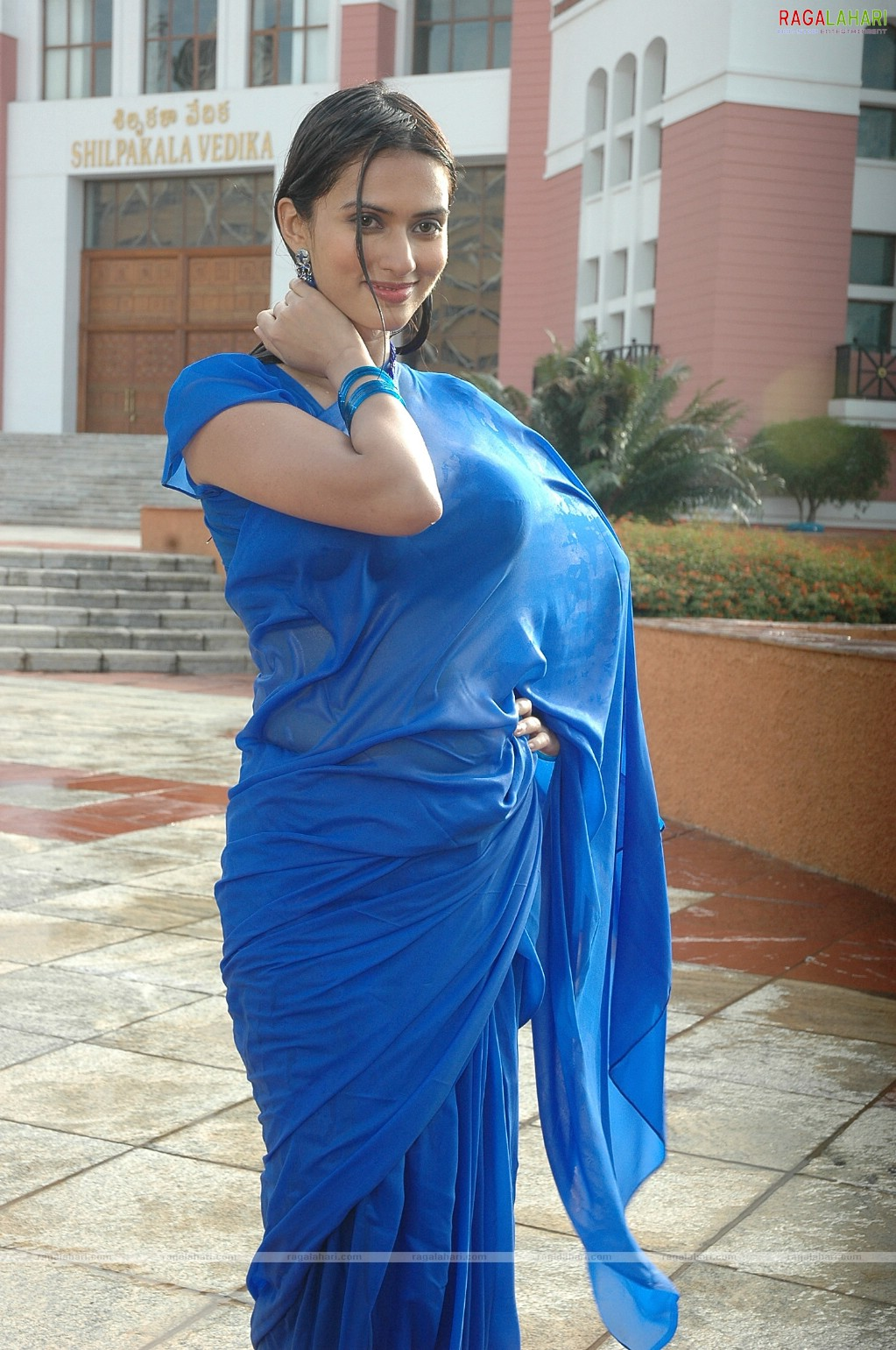 Indian Celebrity Sexy Girls Gowri Pandit Boobs Show In Wet Blue Saree-4728