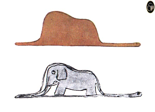 [image] showing either a Hat or an Elephant Being Swallowed By a Snake