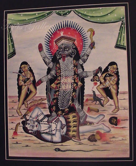 Kalighat Paintings Artistic Maa Kali Drawing