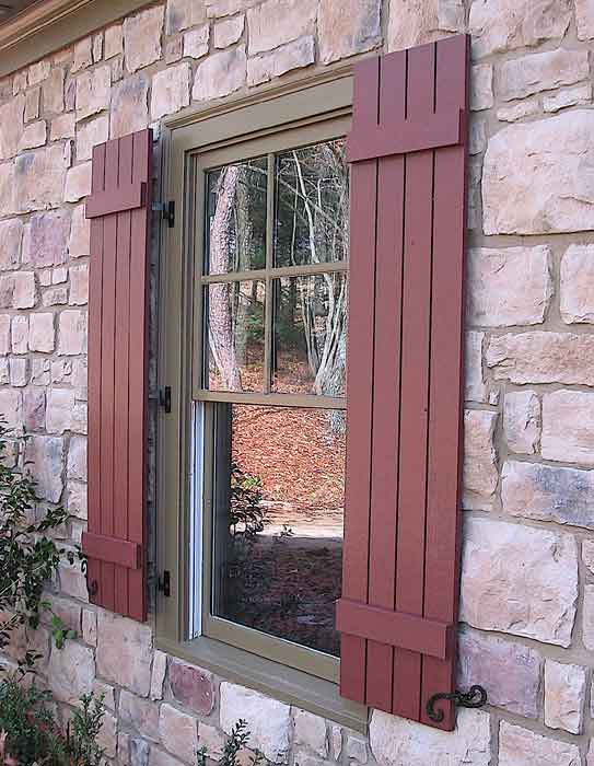 Red shutters on pinterest shutters blue shutters and - Exterior wood shutters for windows ...