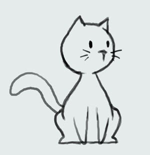Learn how to draw cartoon cute kitty cat: Step by Step