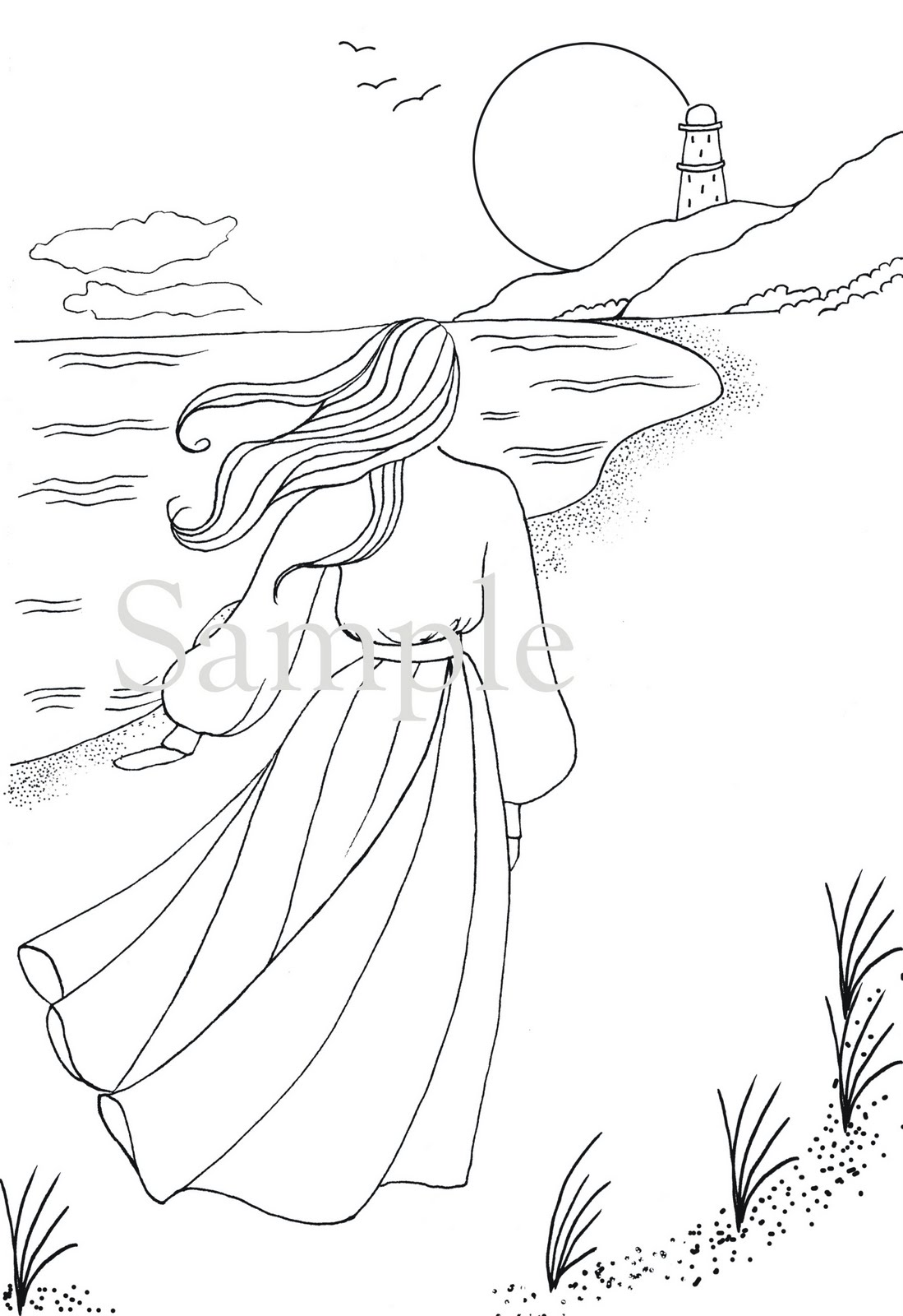 beach scene coloring pages - free beach scenery coloring pages