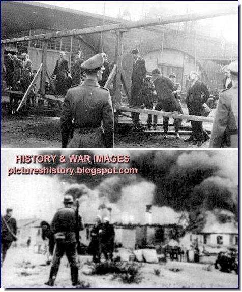 Germans burning villages hanging partisans russia