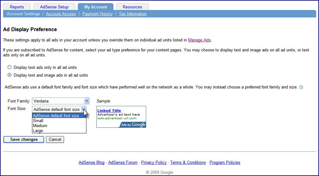 Google AdSense permite variar el tamaño de la fuente