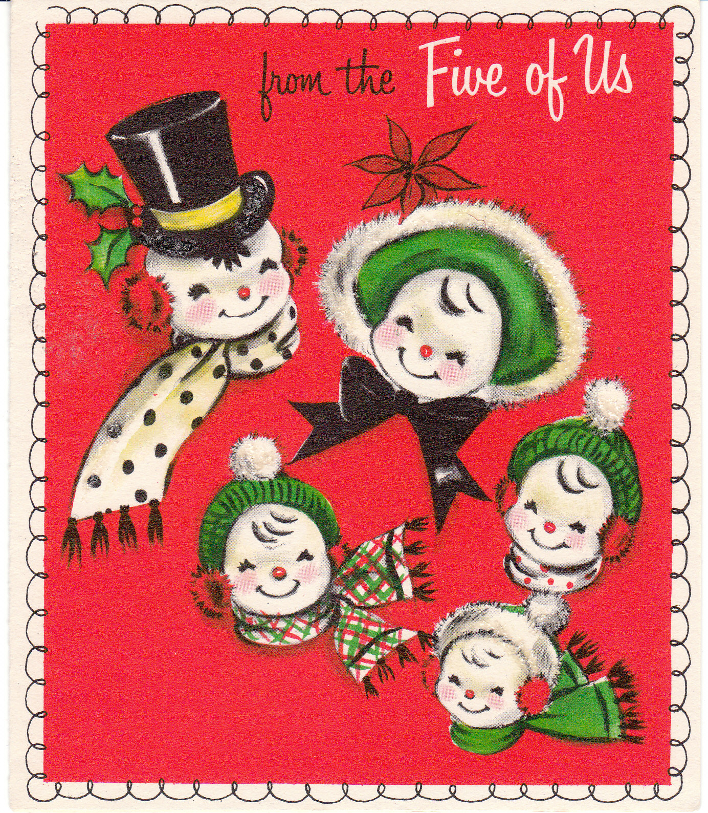 view from the birdhouse mid century vintage christmas cards