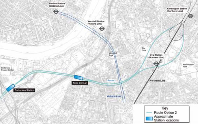 Northern Line Extension Map Narrowing the Options and Raising the Cash: The Battersea Northern  Northern Line Extension Map