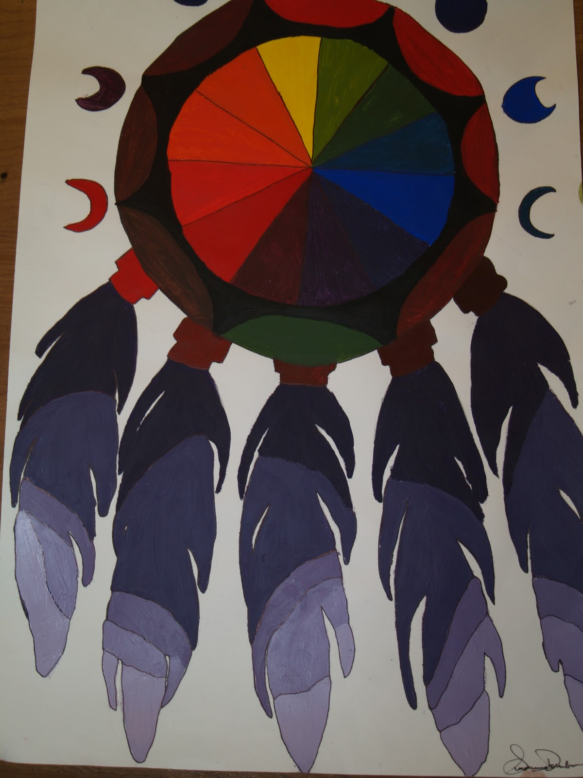 First Semester Painting Color Wheel Compositions