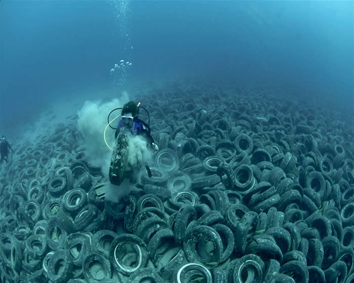 Dumping waste into the ocean