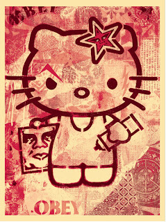 Shepard Fairey Hello Kitty Pink Print