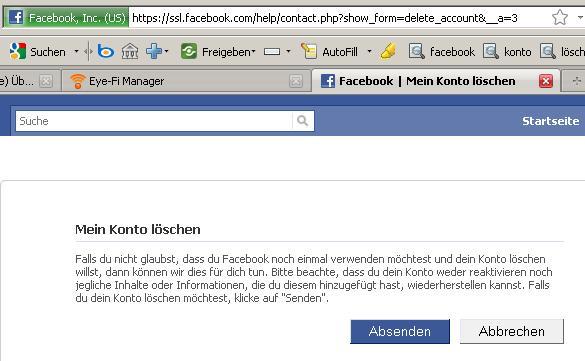 suchen löschen facebook