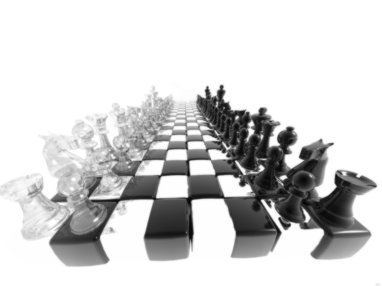 charles olivier news 3d black and white chess wallpaper