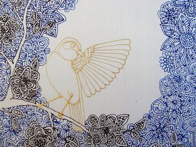 lakštingala šilko paveikslas, kontūrai, tapyba ant šilko / nightingale silk painting contours, painting on silk
