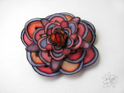 šilko gėlė, rožinė, violetinė, oranžinė / silk flower, orange, rose and violet