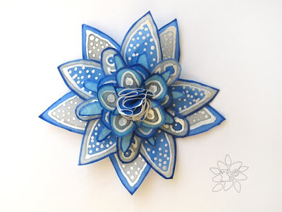 hand painted silk flower, silk star from white, grey and blue painted silk