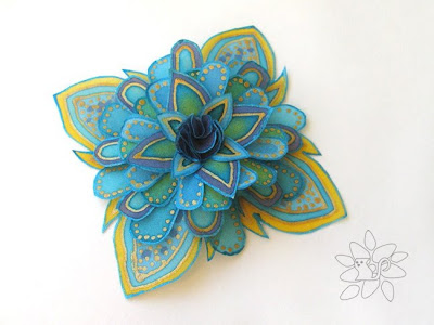 yellow azure silk flower, painting on silk / geltonai žydra šilko gėlė, silk painting