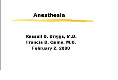 Medical Powerpoint Slides: History of anesthesia