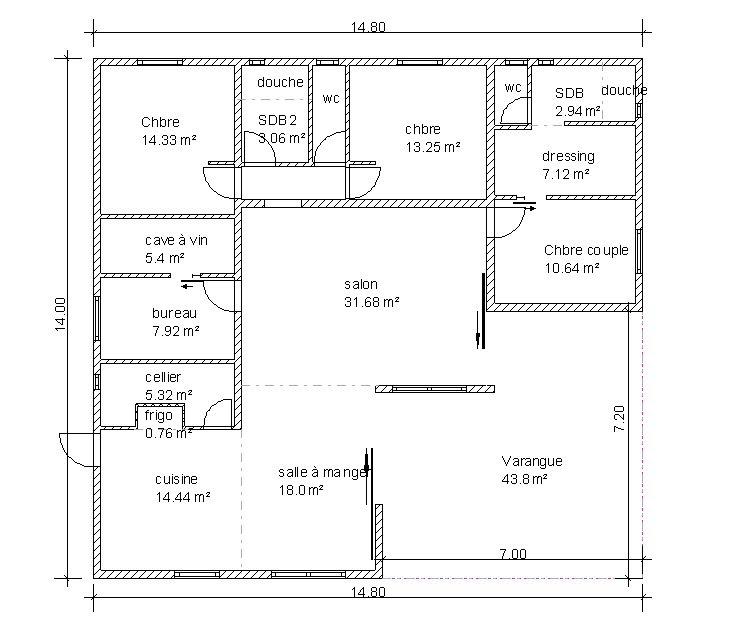 Plan maison plain pied 3 chambres 90m2 - Plan de maison plain pied 150m2 ...