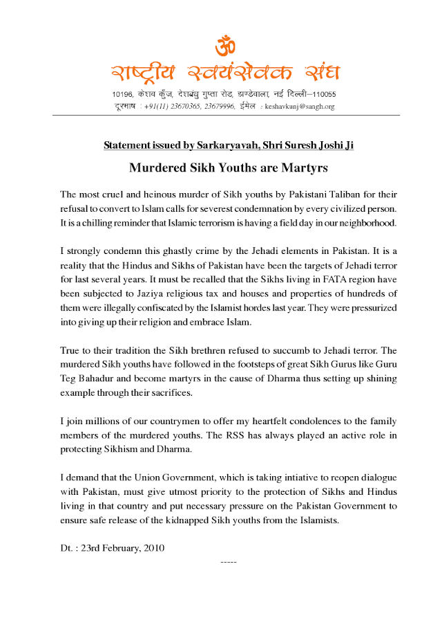 Murdered Sikh Youths are Martyrs - RSS Statement