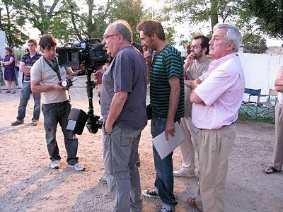foto de rodaje en exterior con Pedro Costa y Víctor Tejedor