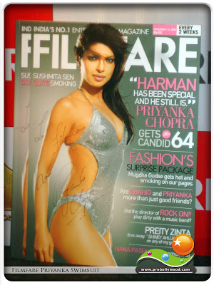 Bollywood actress Priyanka Chopra in a sexy non nude Swimsuit on the cover of Filmfare magazine