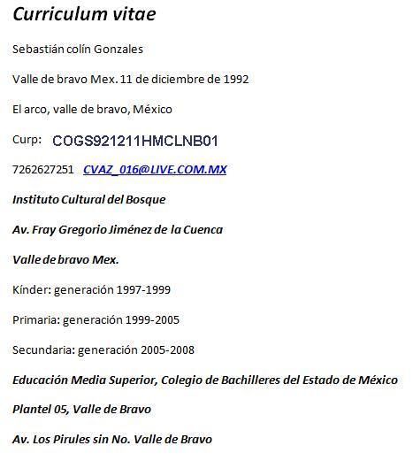 Ejemplo Curriculum Vitae Estudiante Bachillerato