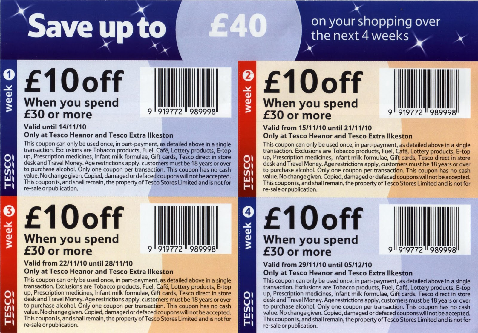 Tesco rarely offers promo codes. On average, Tesco offers 0 codes or coupons per month. Check this page often, or follow Tesco (hit the follow button up top) to keep updated on their latest discount codes. Check for Tesco's promo code exclusions. Tesco promo codes sometimes have exceptions on certain categories or brands.3/5(2).