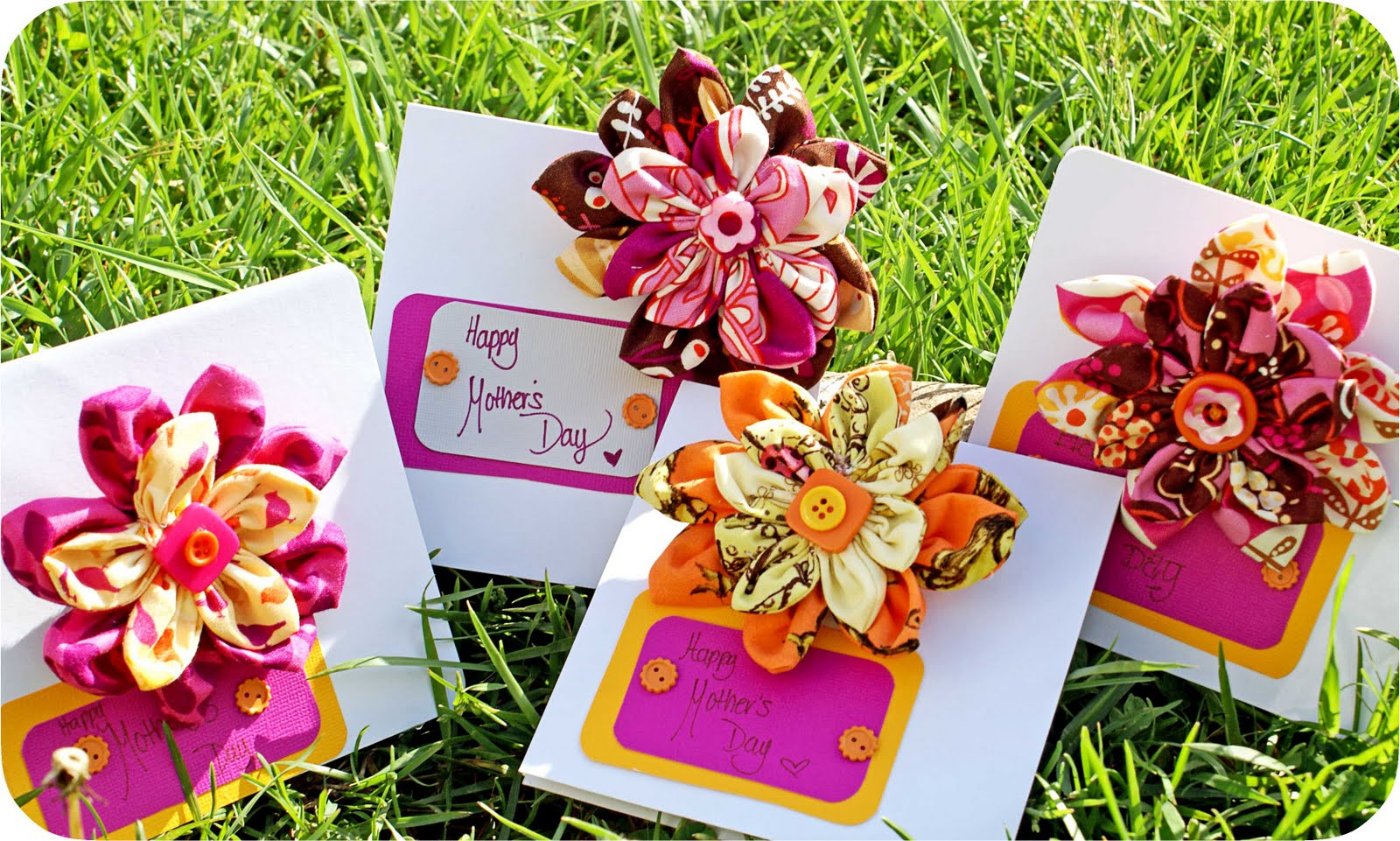 five little crafty birdies fabric flower corsage and card