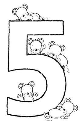 Numero Cinco Para Colorear Moldes De Numeros 5