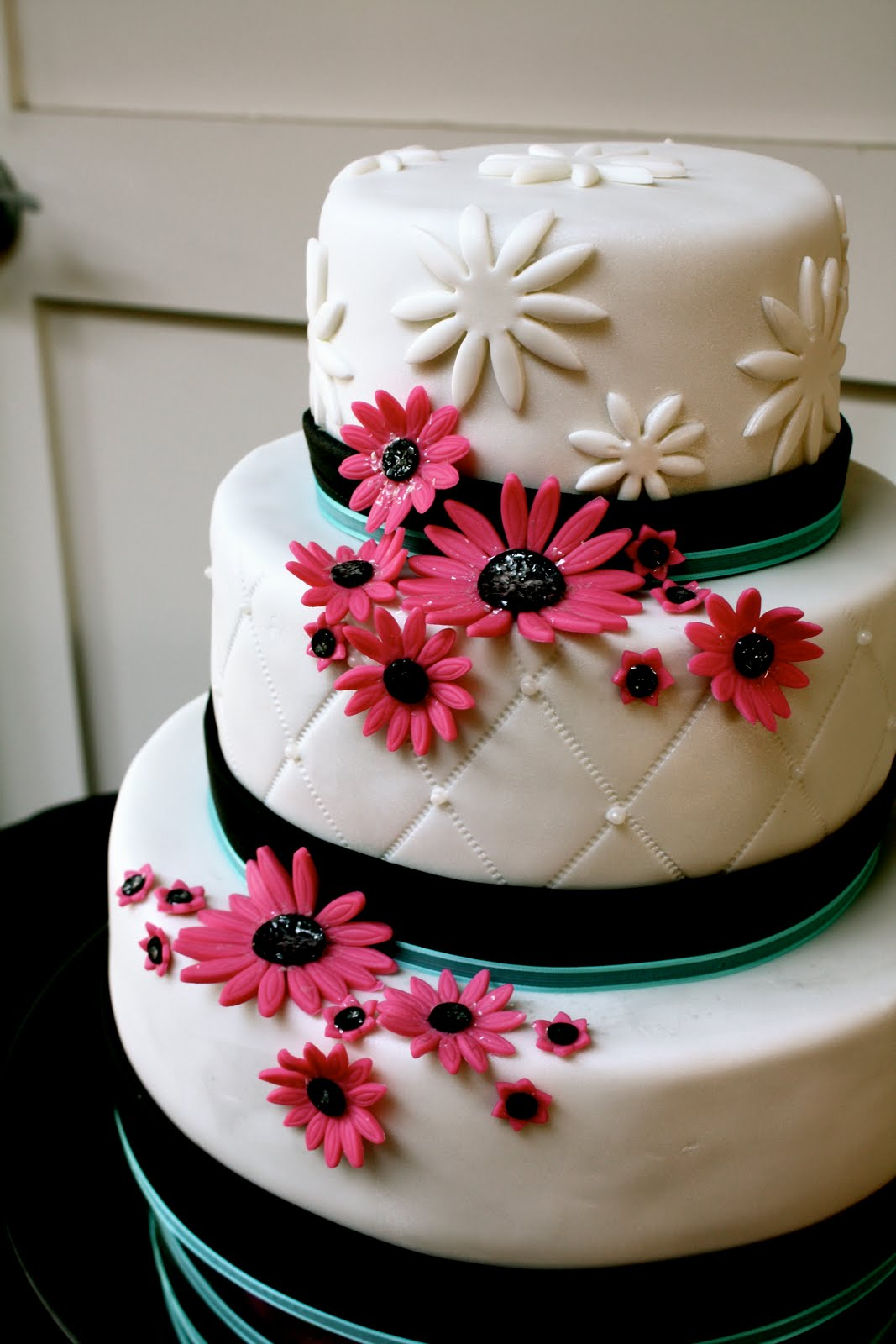 Bumble Cakes Aqua Black And Pink Wedding Cake