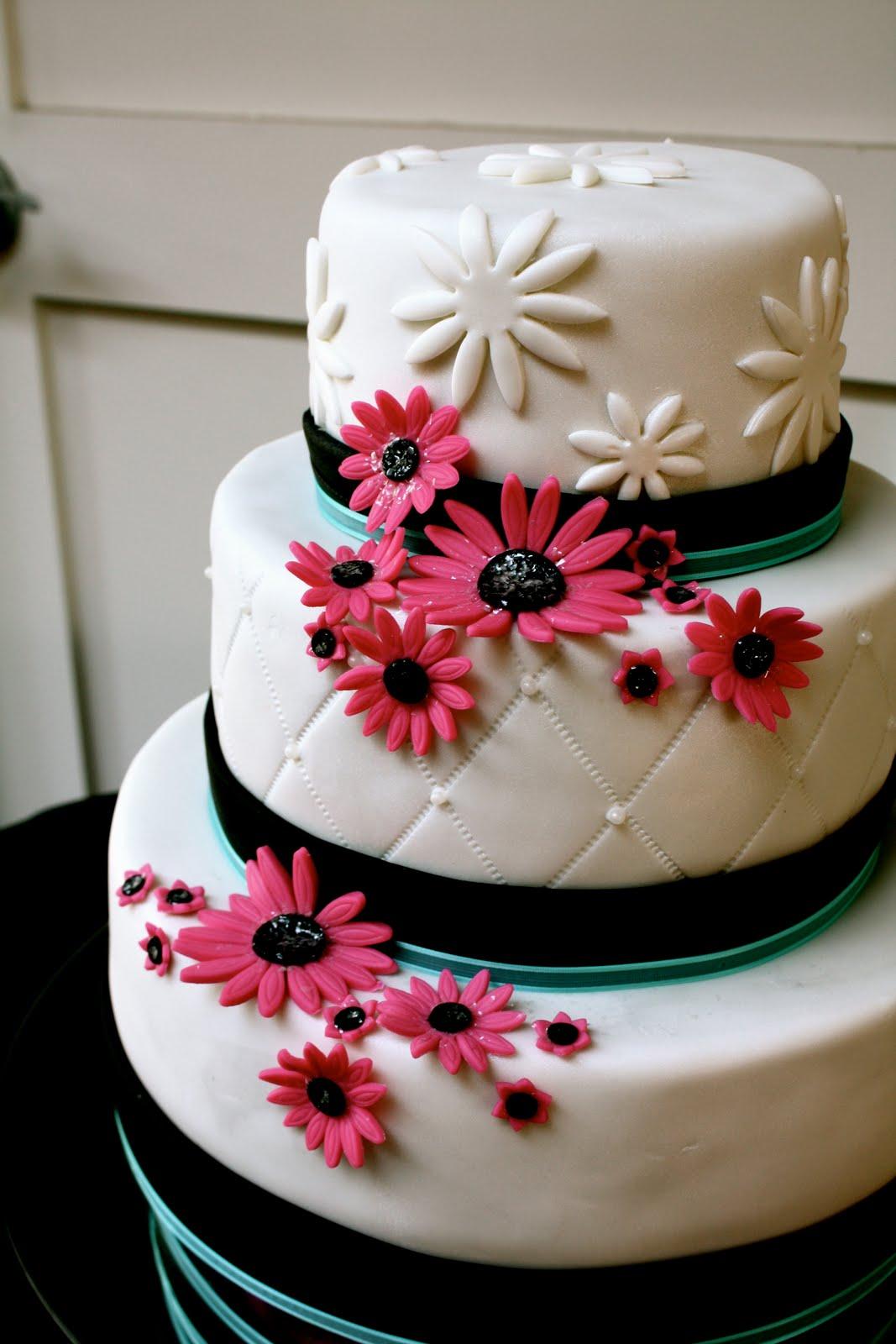 Bumble Cakes Aqua Black And Pink Wedding Cake
