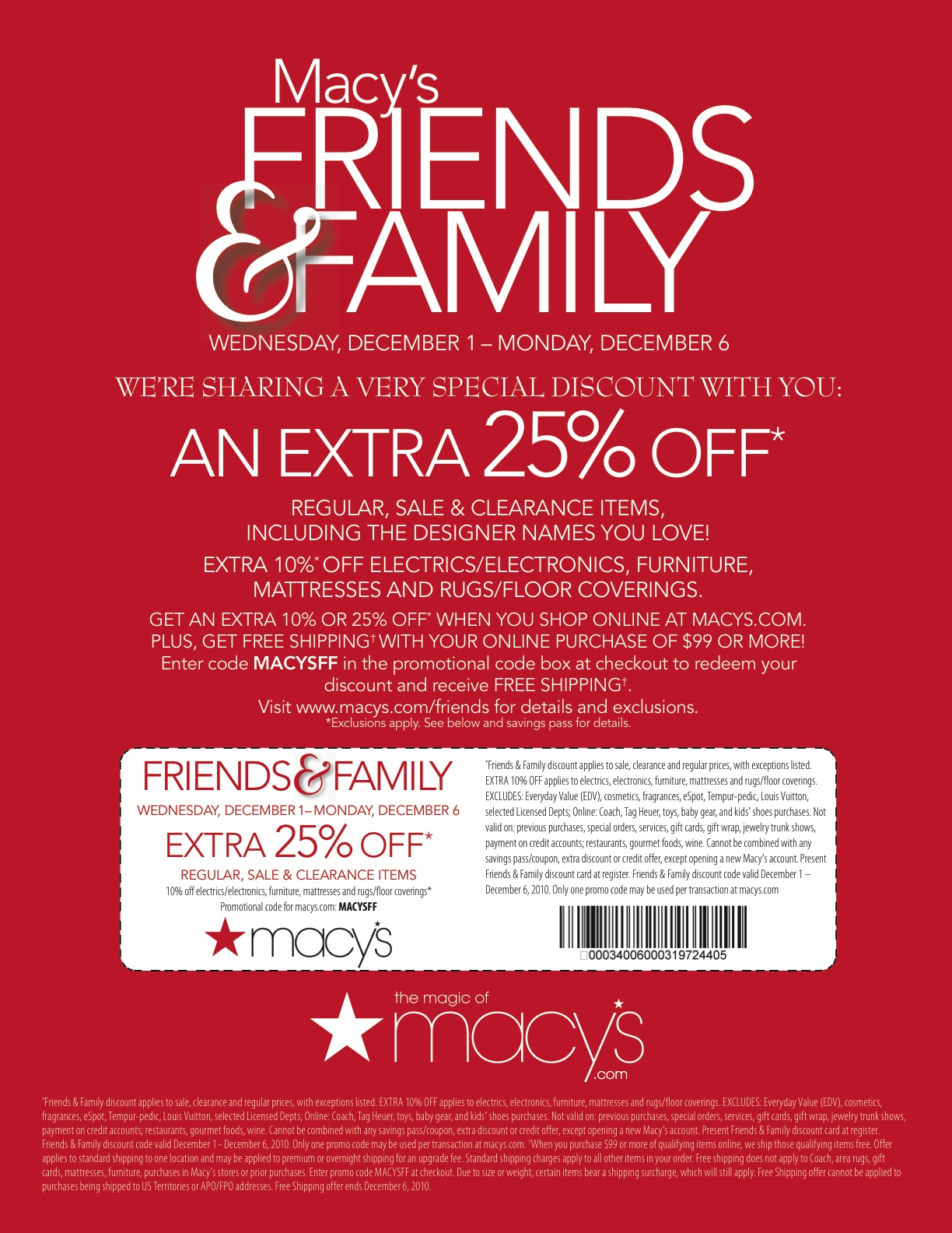 a7633d22a Macy's Friends & Family coupon...25% off! - Fun Cheap or Free
