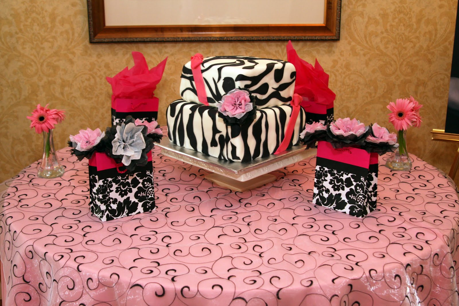 Har2heart Planning Wedding And Event Coordination Damask Pink Black White Baby Shower