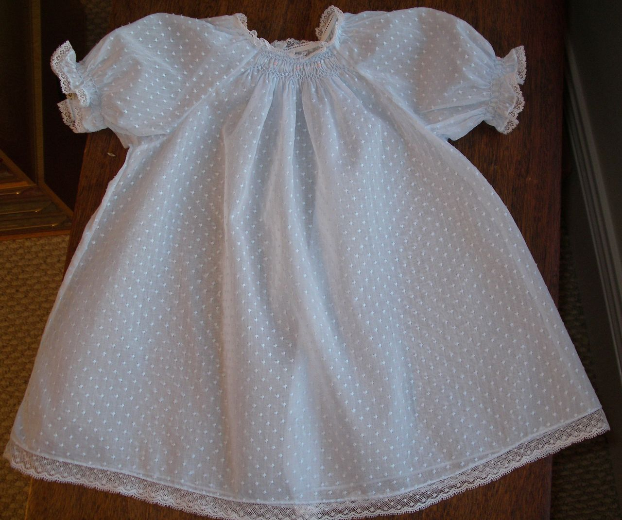 9a92bf2b7d86c The Old Fashioned Baby Sewing Room: Blue Dotted Swiss Smocked Baby Dress