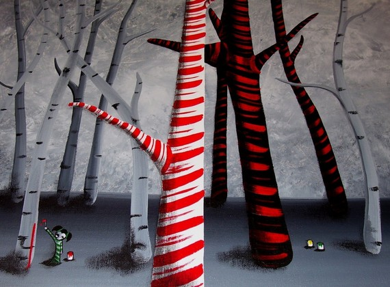 Four Eyes Rella Painting A Candy Cane Forest