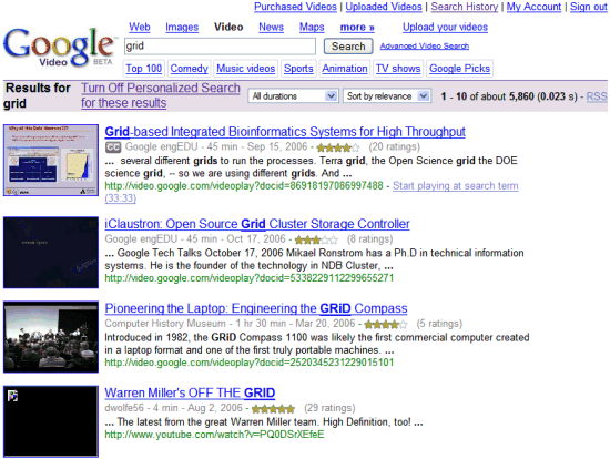 Personalized Google Video Search