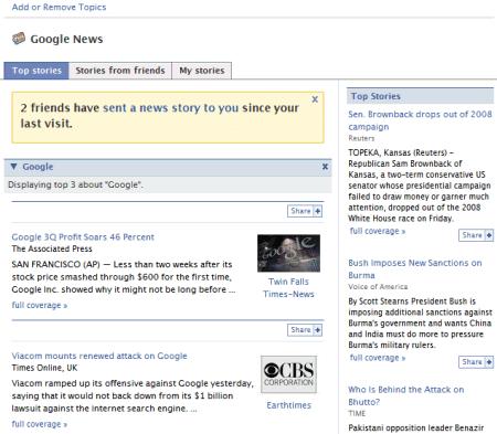 Facebook App for Google News