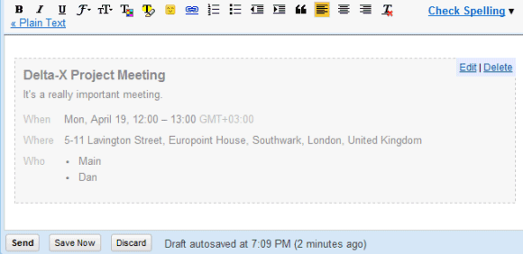 Gmails new interface for adding event invitations after entering all the details the event is added to the email message and you can still edit the event or remove it stopboris Gallery