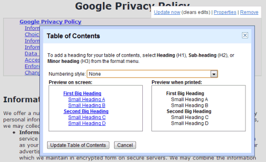 Table of contents dictionary and thesaurus in google docs for Table of contents google docs
