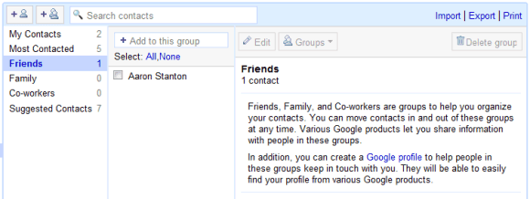 New Default Groups for Google Contacts