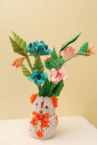 How To Make 3D Origami Flower Vase V10 | cómo hacer florero de ... | 480x321