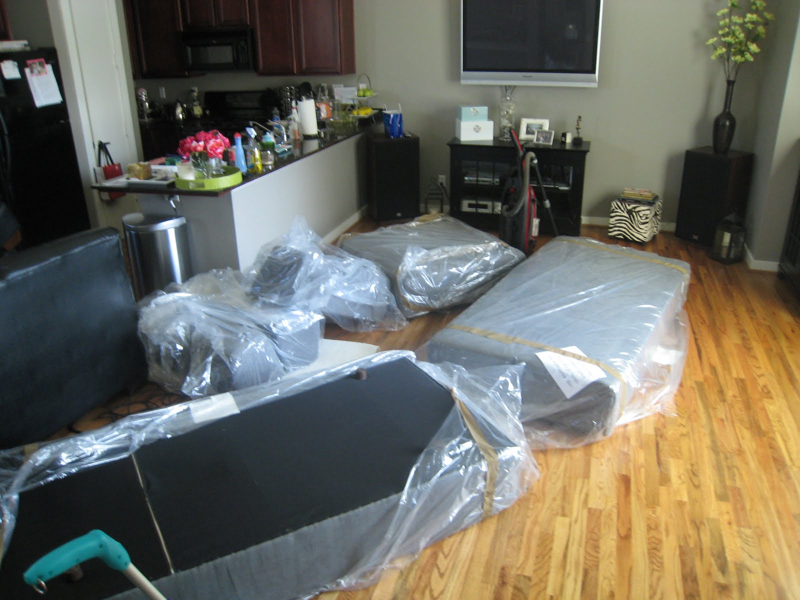 We were up until 2 a.m. Saturday night prepping and we cleaned all morning today. This is what it looked like when we brought all of the couch pieces ... : west elm tillary sectional - Sectionals, Sofas & Couches