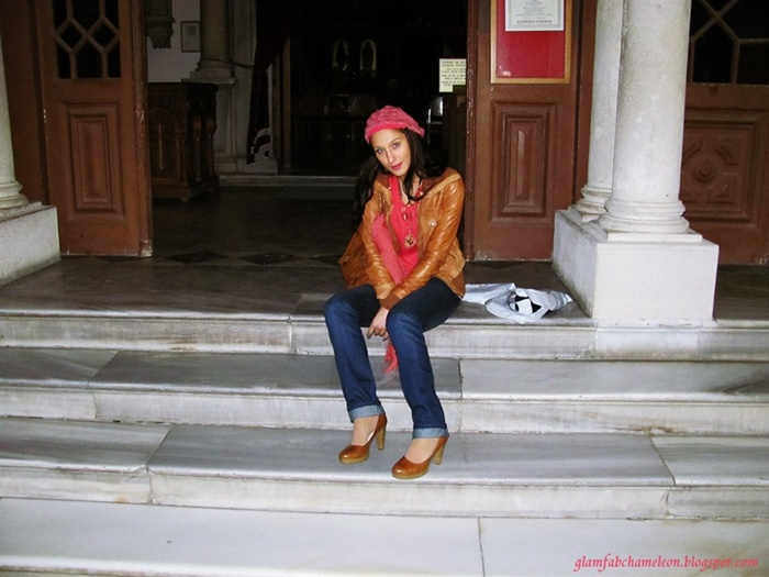 tan brown leather jacket and shoes