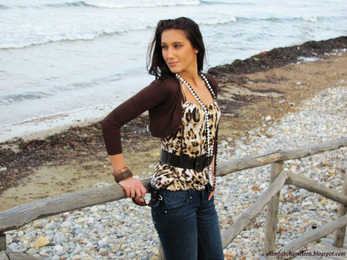leopard print top with wide belt outfits