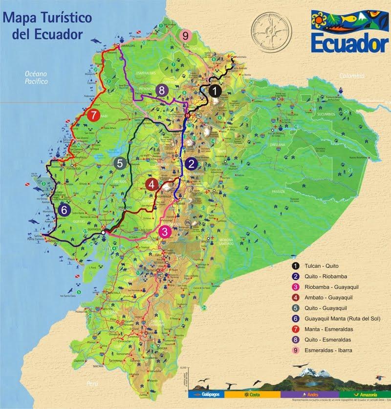 Mapa Turístico Del Ecuador Elianaarciniegas2012