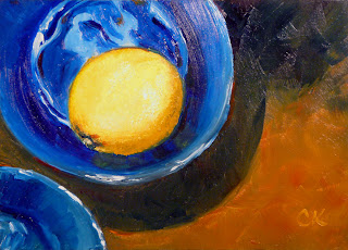 Connie Kleinjans, original oil painting, Lemon in a Blue Bowl, 5x7